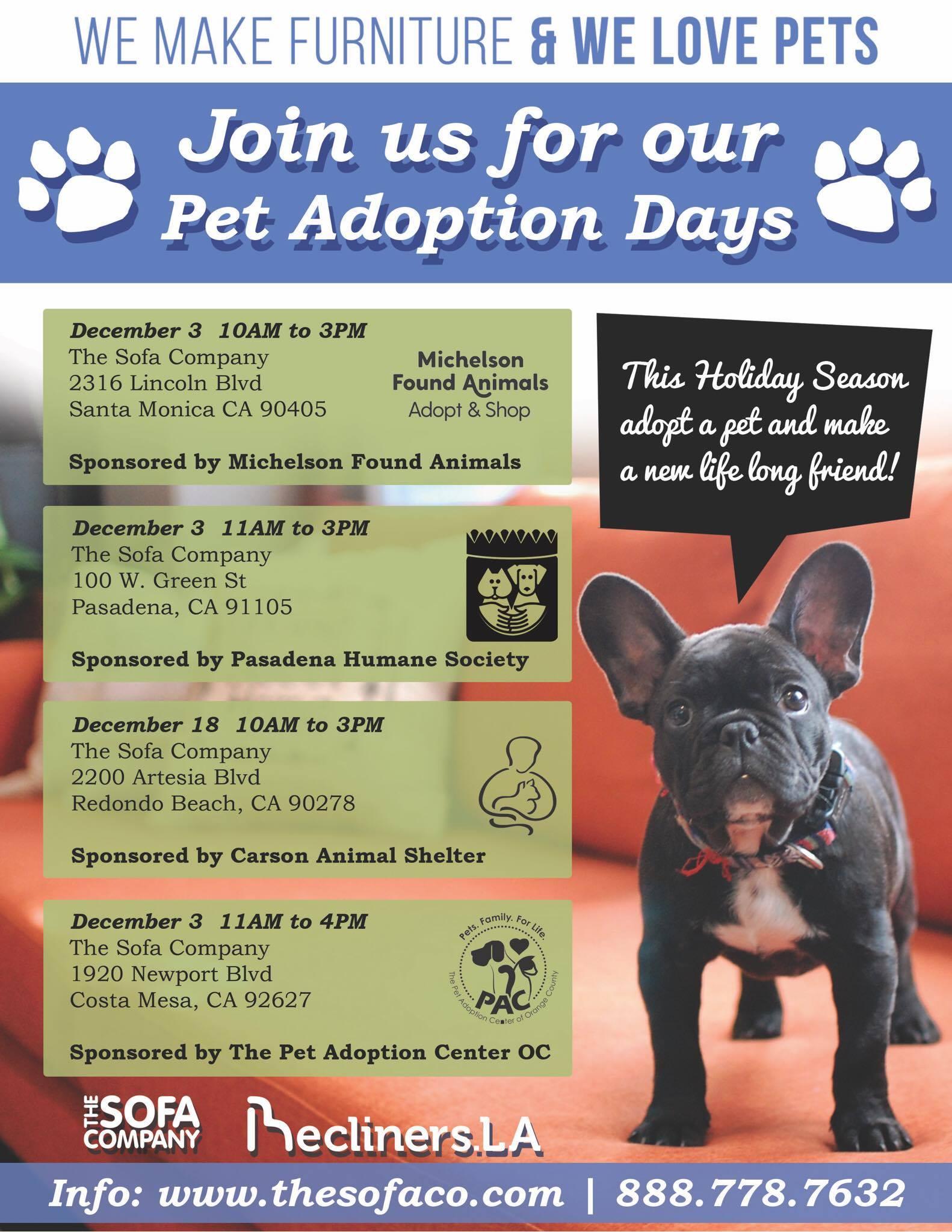 Sofa King Pet Adoption Days